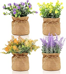Newthinking Fake Flowers Potted, 4 Pack Mini Artificial Flower in Burlap Pot, Faux Plants for Home, Wedding and Bathroom Decor