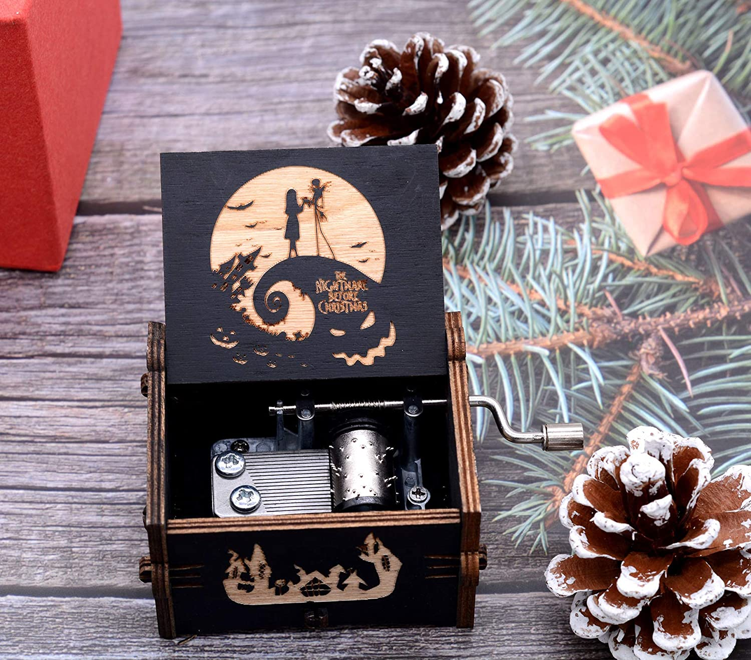 Keast Carillon vintage in legno intagliato The Nightmare Before Christmas a manovella per giocare a melodia Merry Christmas To Daughter From Dad Mom