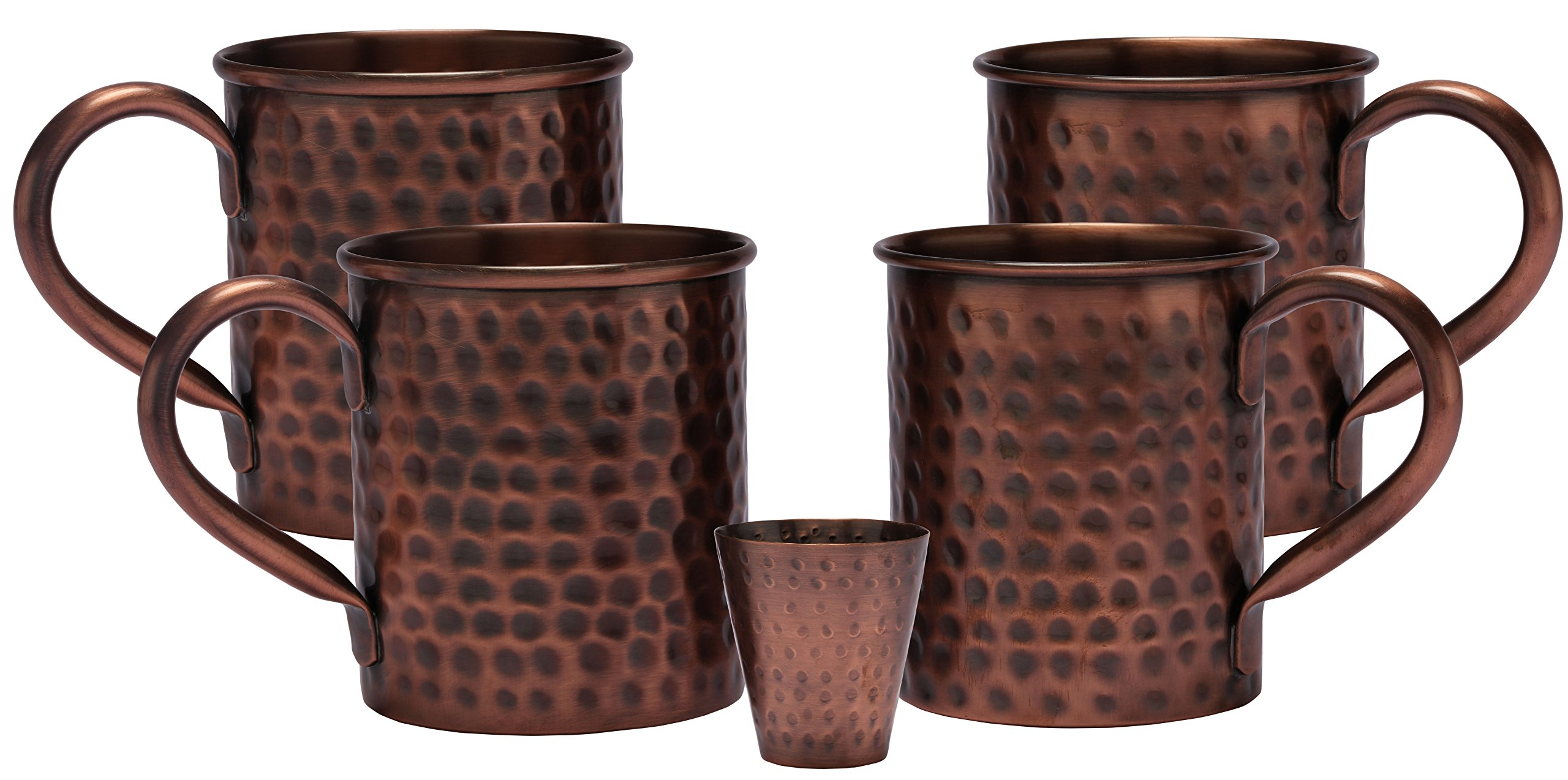 Melange 24 Oz Antique Finish Copper Classic Mug for Moscow Mules, Set of 4 with One Shot Glass - 100% Pure Hammered Copper - Heavy Gauge - No Lining - Includes Free Recipe Card