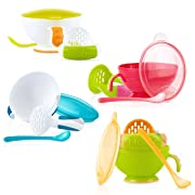 Nuby Garden Fresh Mash N' Feed Bowl with Spoon and Food Masher, Colors May Vary