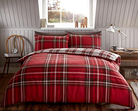 Beautiful Luxury Tartan Check Flannelette Thermal 100% Brushed Cotton Duvet Cover Bedding  Set(King,