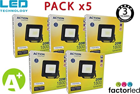 FactorLED ¡OFERTA! Pack x5 Foco LED 20W Negro Slim, Iluminación Exterior e Interior, Proyector Ultrafino IP65, Floodlight Decoración, [Eficiencia energética A+] (Luz Natural (4000K)): Amazon.es: Iluminación