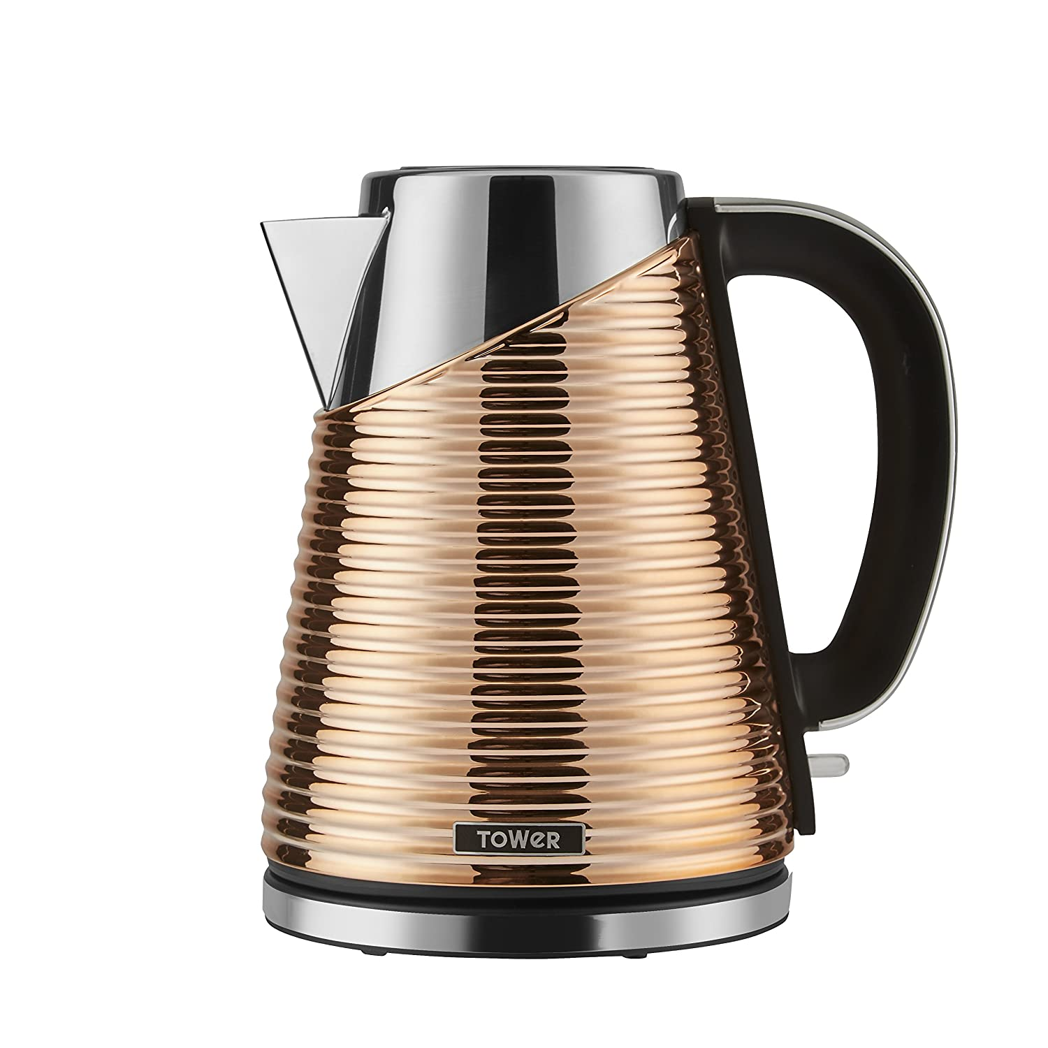 Tower T10009 Linear Fast Boil Jug Kettle with Cool Touch Housing, 3000 W, 1.5 Litre, Black and Stainless Steel RKW