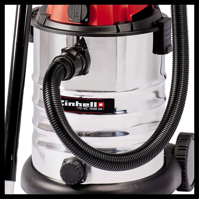 Einhell Aspirateur eaux et poussi/ères TC-VC 1812 S 1250 W, 180 mbar, Cuve en INOX 12 L anticorrosion, Livr/é avec accessoires