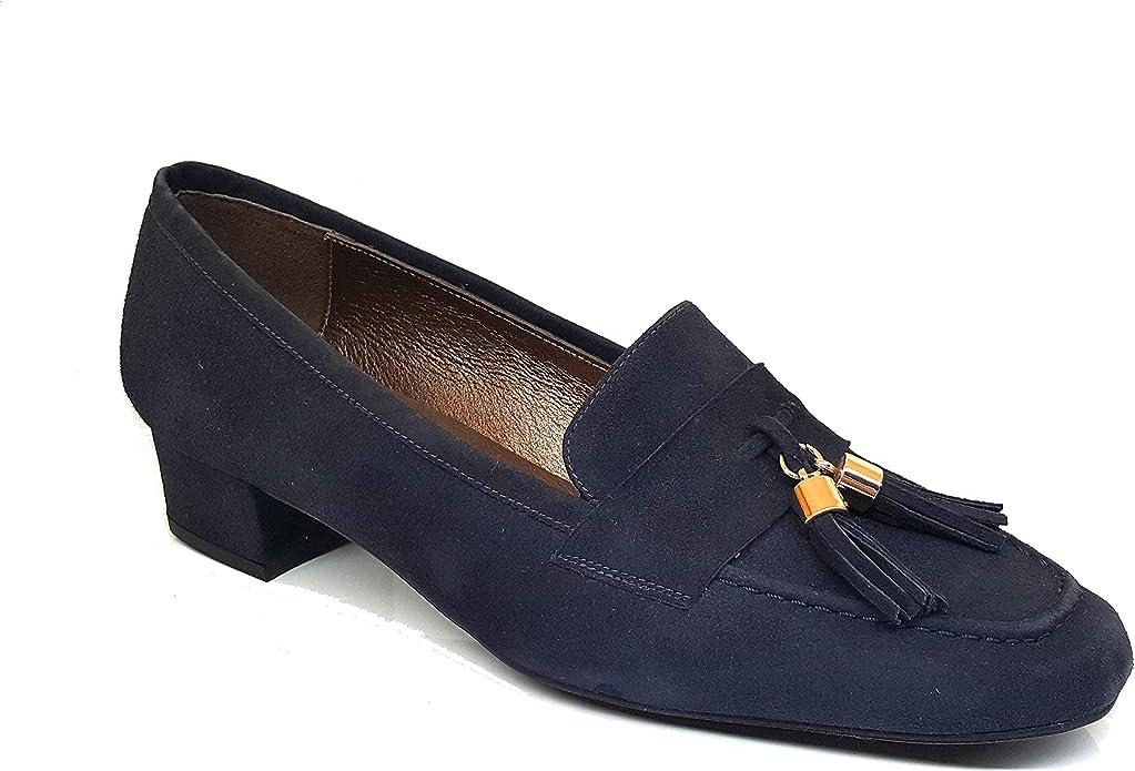 OTRUSCO - Mocasines es de Piel para Mujer con Borlas - Hechos en España - Tacon Ancho Bajo 3 cm - Forro Piel - Moda Tendencia Mocasin Elegantes - Piel: Amazon.es: Zapatos y complementos