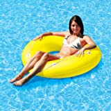 "47"" Vibrant Yellow Neon Frost Swimming Pool Inner Tube with Perimeter Rope"