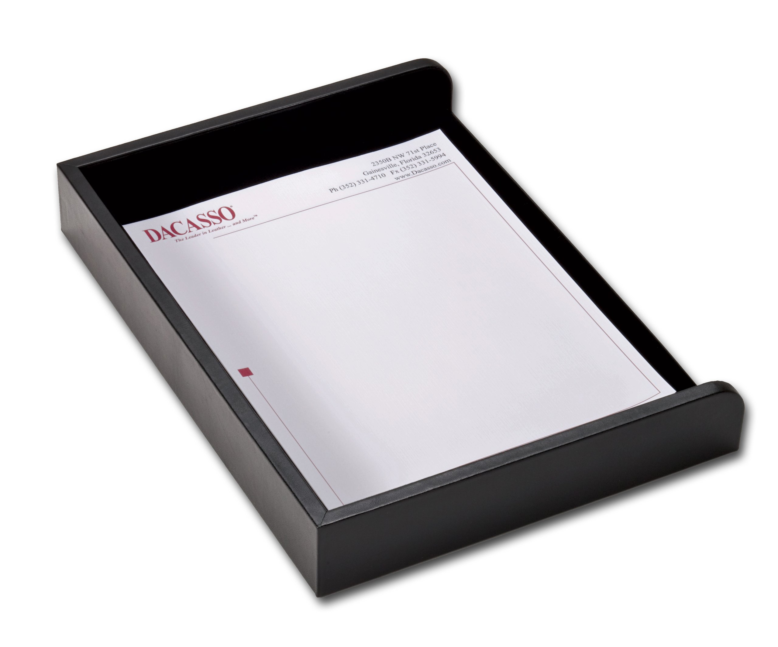 Dacasso Black Leather Side Load Letter Tray by Dacasso