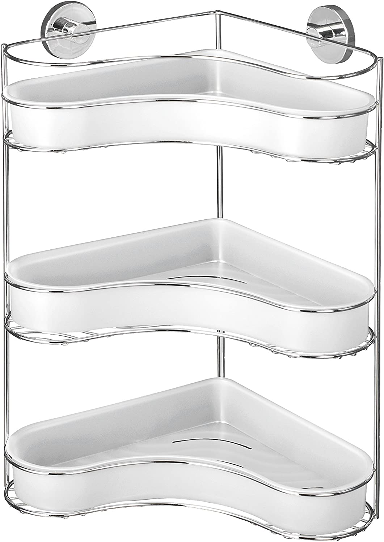 Wenko 20895100 Milazzo Vacuum-Loc Etag/ère dAngle 3 Niveaux 35 x 29 x 45 cm