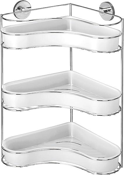 Befestigen ohne bohren Stahl 35 x 47.5 x 24 cm Chrom WENKO 20895100 Vacuum-Loc Eckregal 3 Etagen Milazzo