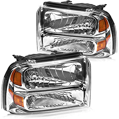 Replacement for 2005-2007 Ford F250 I F350 I F450 I F550 Super Duty I 05 Ford Excursion Headlights OEDRO Super Duty Chrome Housing Amber Reflector Clear Lens Headlamps Left + Right, 2-Yr Warranty: Automotive