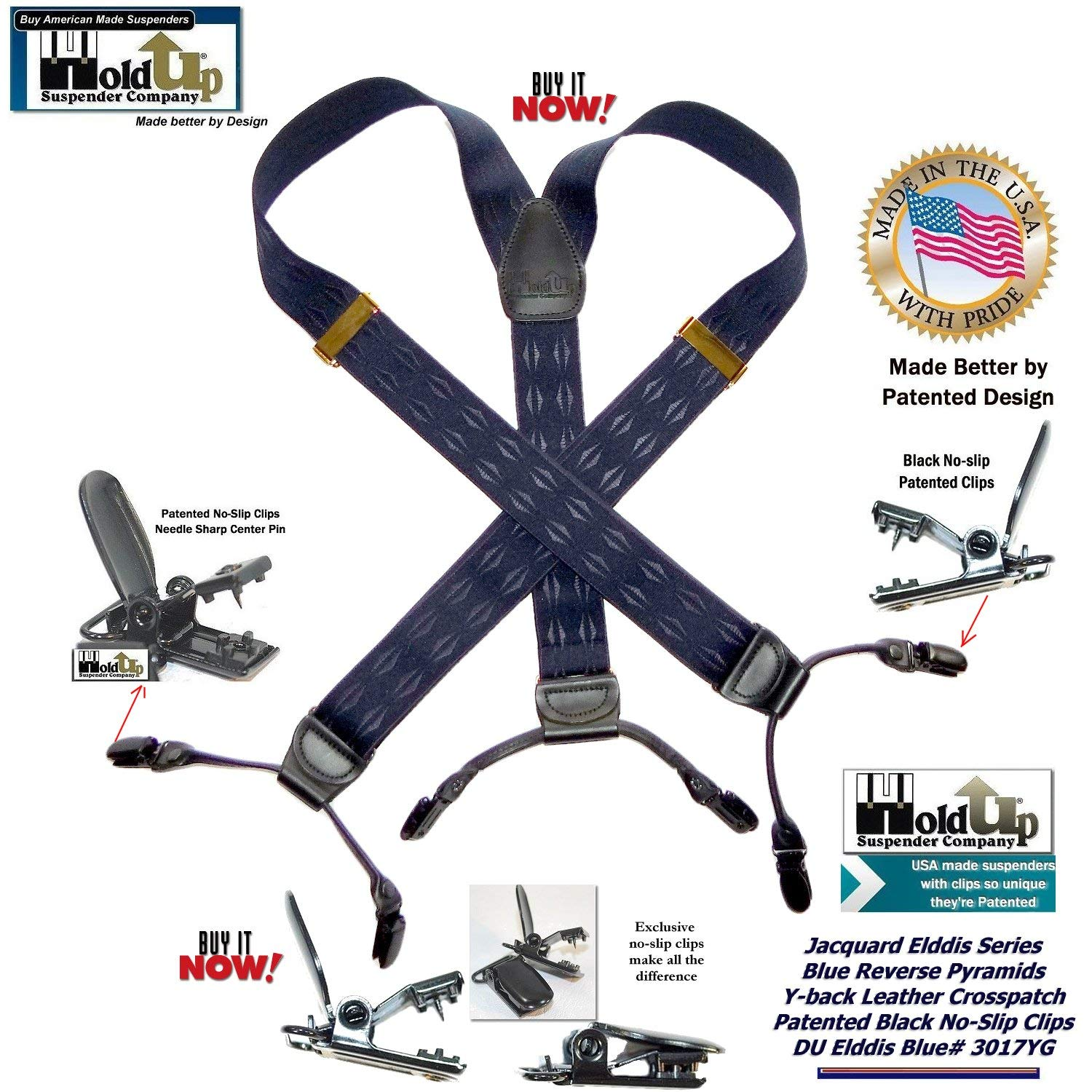8050f8ec115 HoldUp Jacquard Blue Elddis Reverse Pyramid pattern dual clip Double-Up  Suspenders with Patented No-slip Clips at Amazon Men s Clothing store