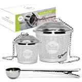 Tea Infuser Set by Chefast (1+1 Pack) - Combo Kit of Single Cup and Large Infusers, Plus Metal Scoop with Clip - Reusable Stainless Steel Strainers and Steepers for Loose Leaf Teas