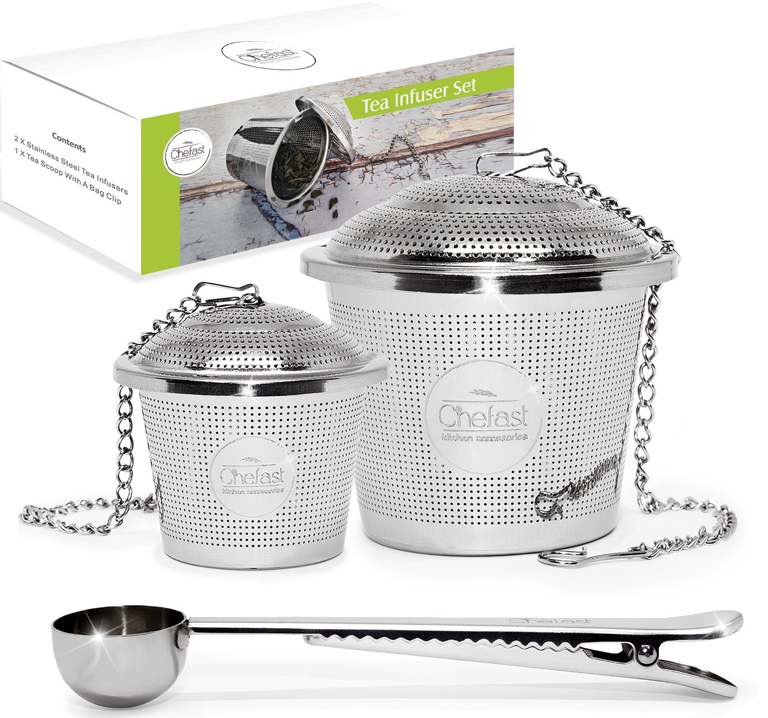 Tea Infuser Set by Chefast (1+1 Pack) - Combo Kit of Single Cup Infuser, Large Infuser, and Metal Scoop with Bag Clip - Reusable Stainless Steel Strainers and Steepers for Loose Leaf Teas