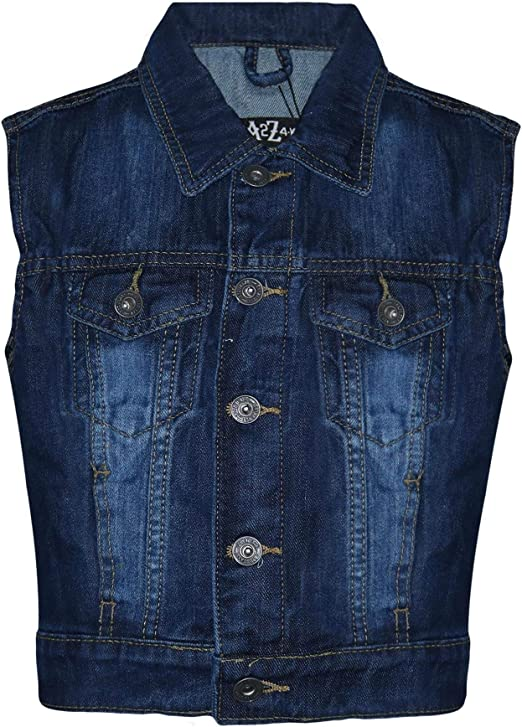 Boys Casual Sleeveless Denim Waistcoat Jeans Gilet Jacket Kids Vest Outerwear