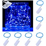 Pack of 6 LED Moon Lights 20 Micro Starry LEDs on Copper Extra Thin Silver Wire, 2 x CR2032 Batteries Required and Included, 5 Ft (1.5m) for DIY Wedding Centerpiece or Table Decorations (Blue)