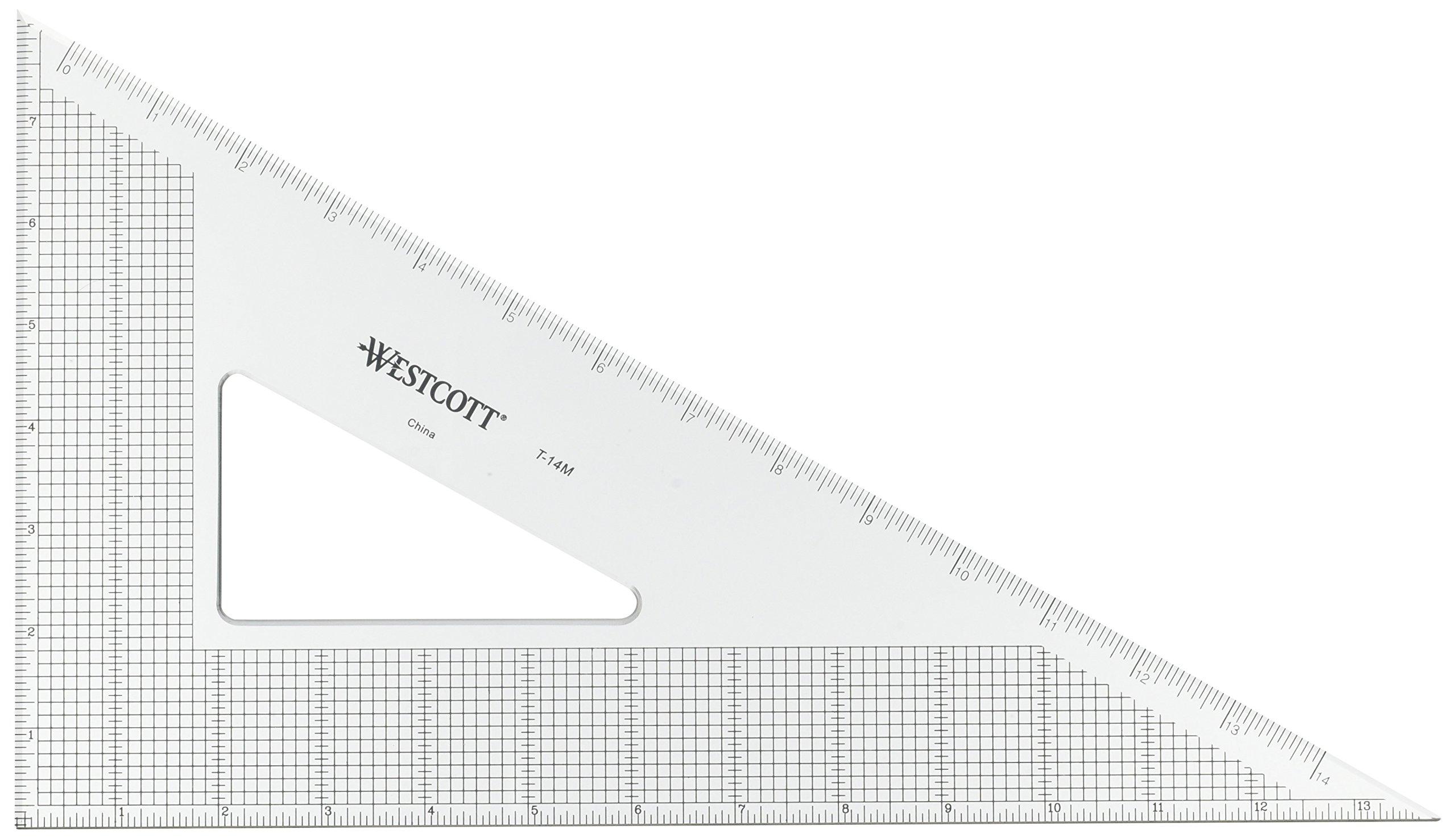 Westcott Grid Triangle, 14'', 30/60 Degree, Transparent (T-14M)