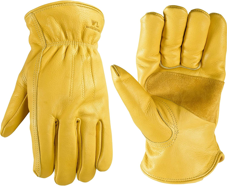 Goldtop Mens 100/% Deerskin Leather Classic Crochet Back Driving Gloves Tan