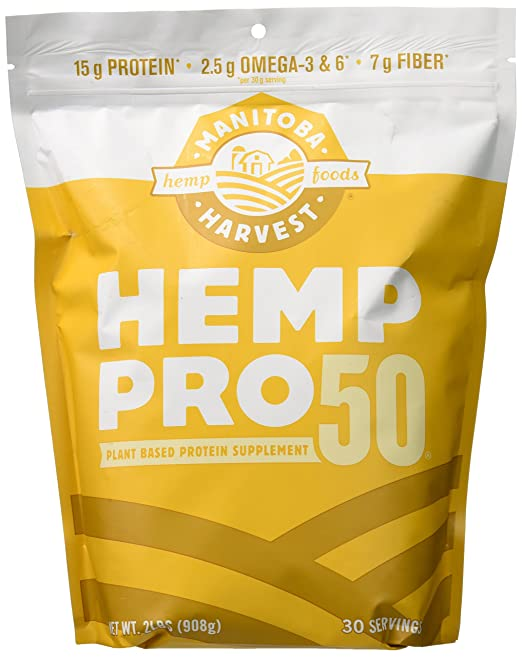 Manitoba Harvest Hemp Pro 50 Protein Powder, 32oz; with 15g of Protein & 7g of Fiber per Serving, Preservative-Free, Non-GMO