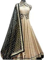 Morang Women's Banglori Silk Embroidery Dress Material(Black-Beige)