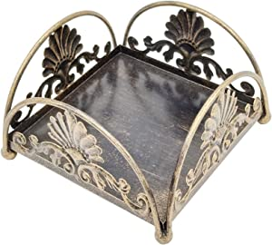Bronze Vintage Style Tabletop Napkin Holder Caddy, Flat Decorative Napkin Dispenser