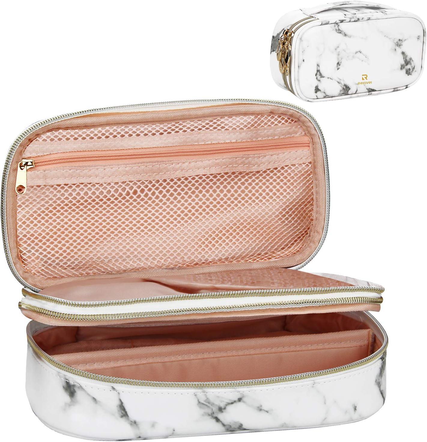 Relavel Makeup Bag Makeup Case 2-Layer Cosmetic Brush Bag Marble Makeup bag Makeup Organizers and Storage Cosmetic Travel Bag for Professional Makeup Brushes Storage Box (Marble White Pattern)