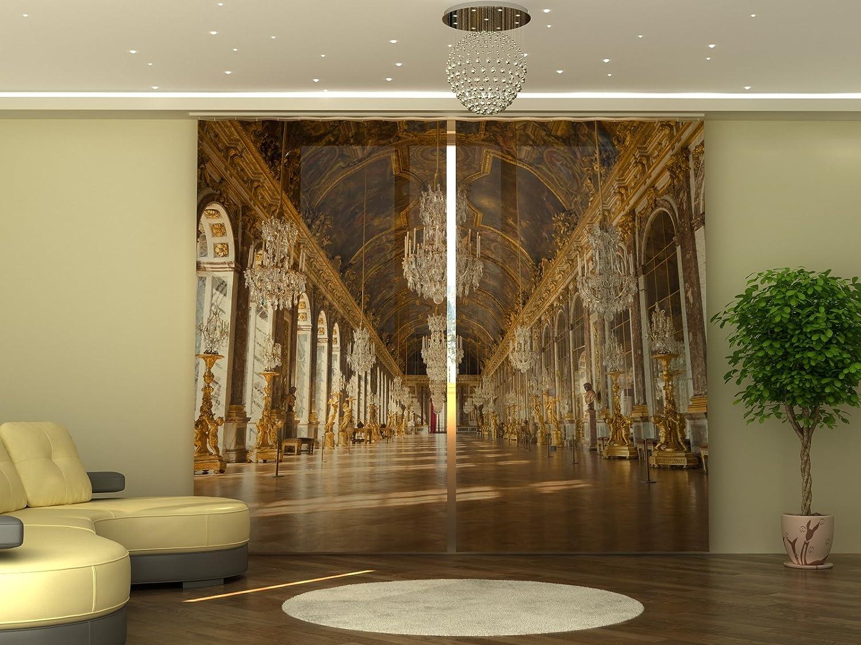 Wellmira Fotogardine 245x290 cm, Versailles, Fotodruck, Blickdicht, Bedruckte Fertiggardine mit Foto, Vorhang mit Motiv