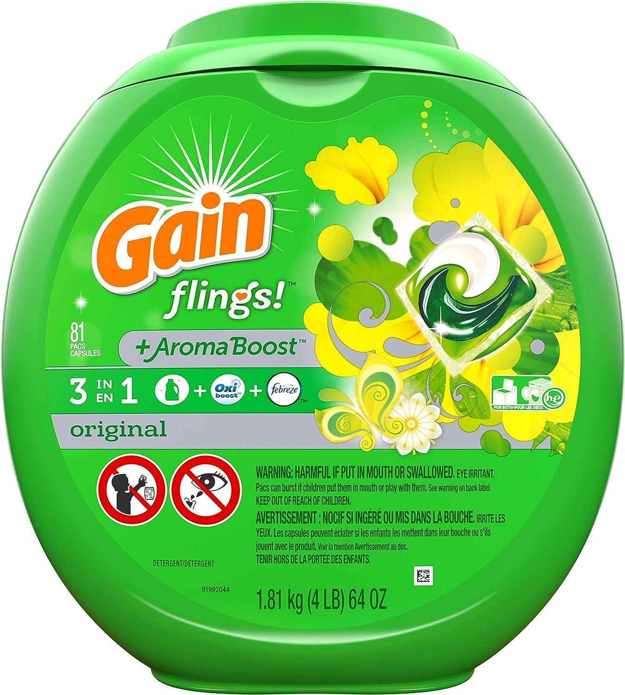 Gain flings! Liquid Laundry Detergent Pacs, Original, 81 Count: Health & Personal Care