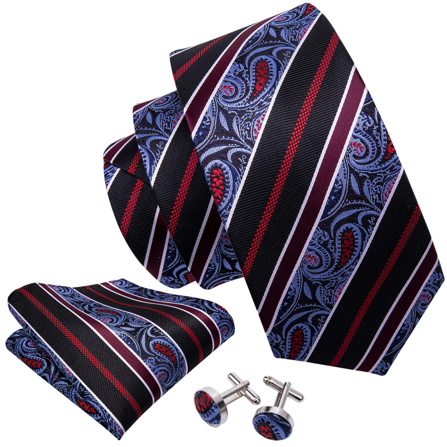4bea1b1ab0de Wang Men Ties Woven Tie Set with Pocket Suqare Cufflinks Paisley Necktie  product image