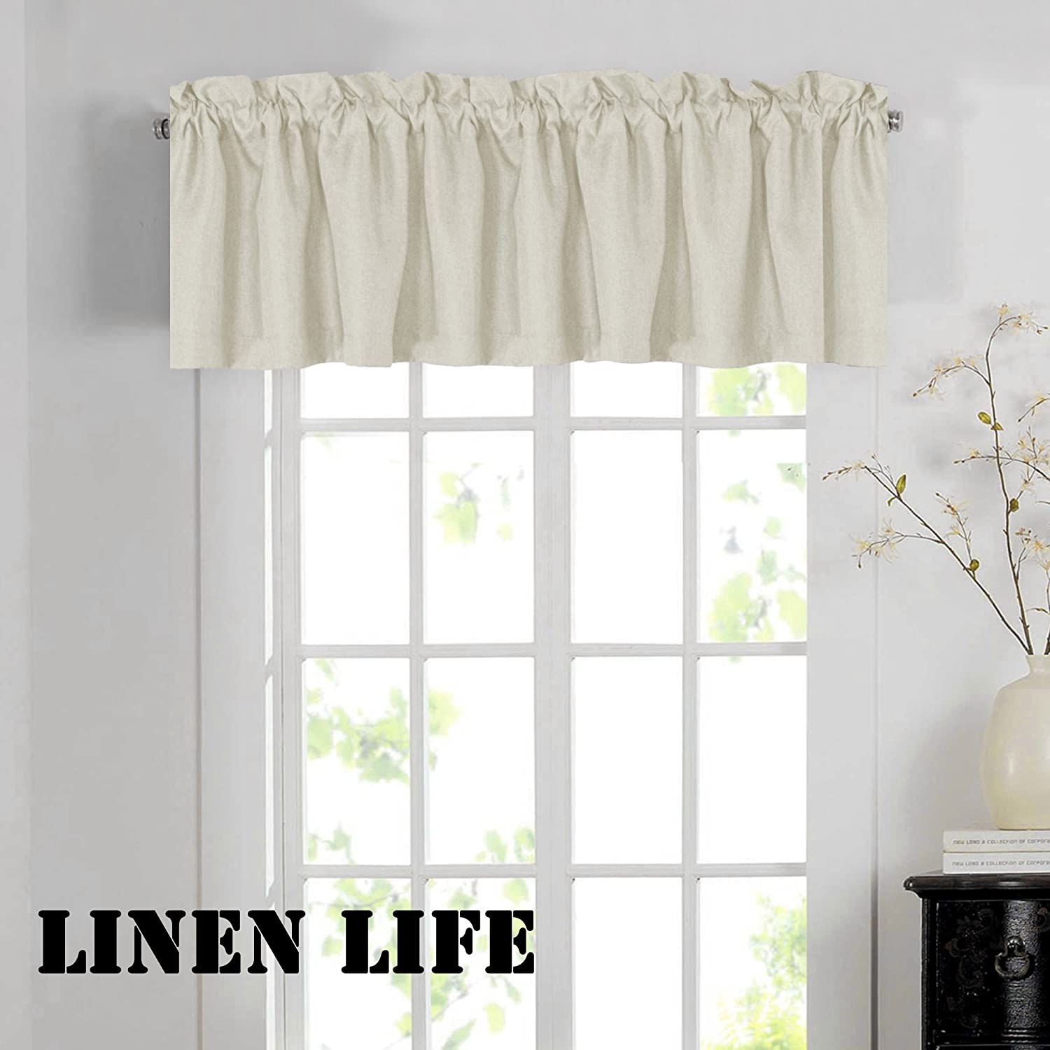 """H.VERSAILTEX Thermal Insulated Window Treatment Valances for Kitchen, Bath, Bedroom, Living Room (Made of Rich Faux Linen, Rod Pocket,52"""" W x18 L,Ivory White, Set of 1)"""