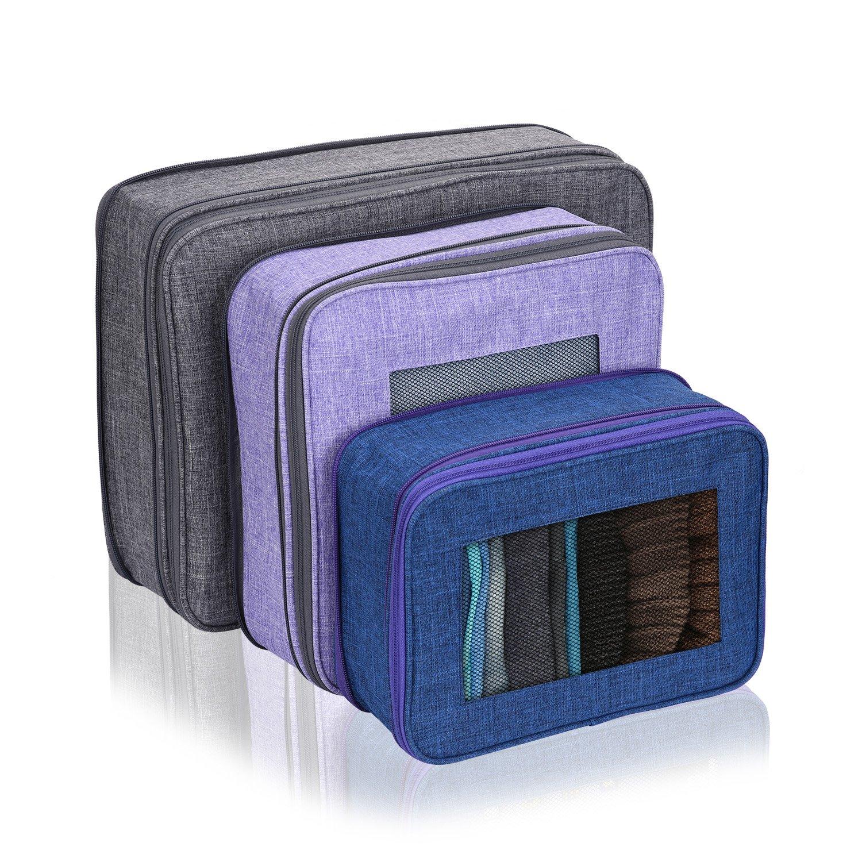 Organizador de Equipaje de Viaje Zapatos cosm/éticos 01 Ropa Interior Bolsas de Almacenamiento de Equipaje para Ropa Seca Bolsas de Embalaje de 3 Piezas con compresi/ón Paquete Premium Cube