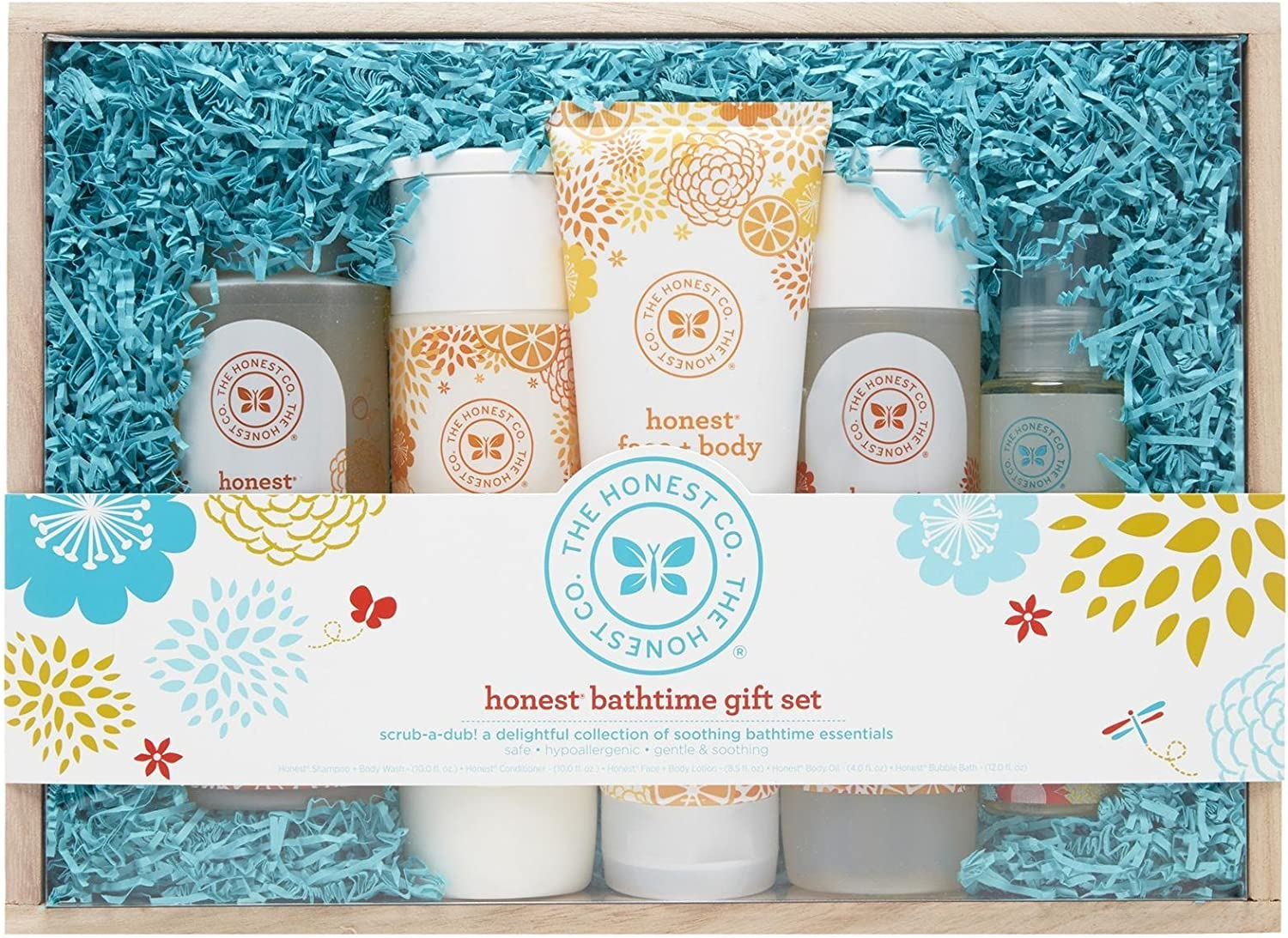 The Honest Company Bath Time Gift Set | Baby Gifts | Includes Honest Company Shampoo + Body Wash, Conditioner, Bubble Bath, Face + Body Lotion & Organic Baby Oil