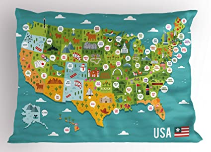 Amazon.com: Lunarable USA Pillow Sham, Cartoon Style Map of United ...