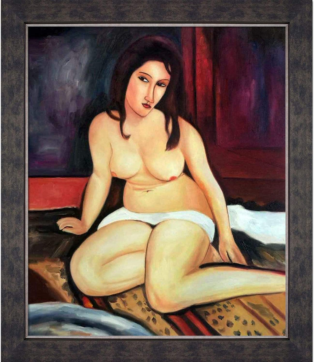"""La Pastiche Seated Nude, 1917 by Amedeo Modigliani Oil Painting, 24"""" x 28"""", Suede Premier Frame"""