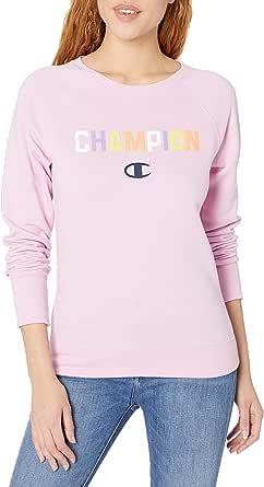Champion Womens GF567 Powerblend® Graphic Boyfriend Crew Sweatshirt