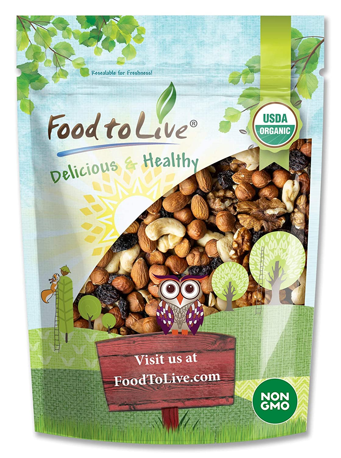 Organic Go Raw Trail Mix, 2 Pounds - Raw and Non-GMO Snack Mix Contains Walnuts, Almonds, Cashews, Hazelnuts, and Raisins. Vegan Superfood, Kosher, No Added Sugar and Oil, Bulk