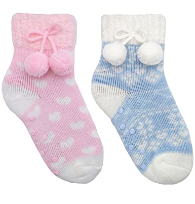 feab9ca792556a Undercover Girls 2 Pack Slipper Socks With Pom Poms SK376 Size 12.5 ...