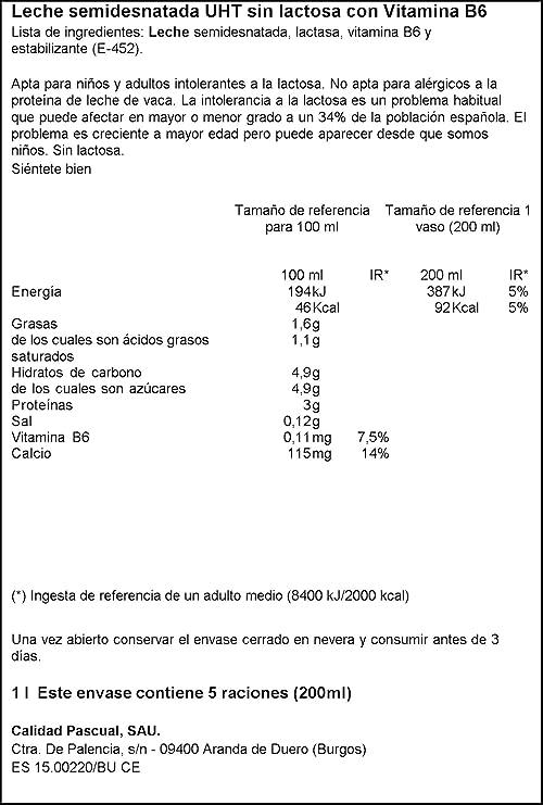 Leche Pascual sin Lactosa Semidesnatada - 1 l: Amazon.es ...