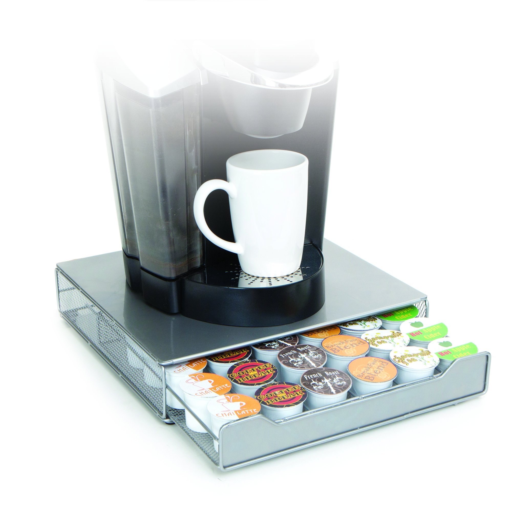 Mind Reader Coffee Pod Storage Drawer for K-Cups, Verismo, Dolce Gusto, Holds 36 K-Cups, 42 Verismo, Silver by Mind Reader