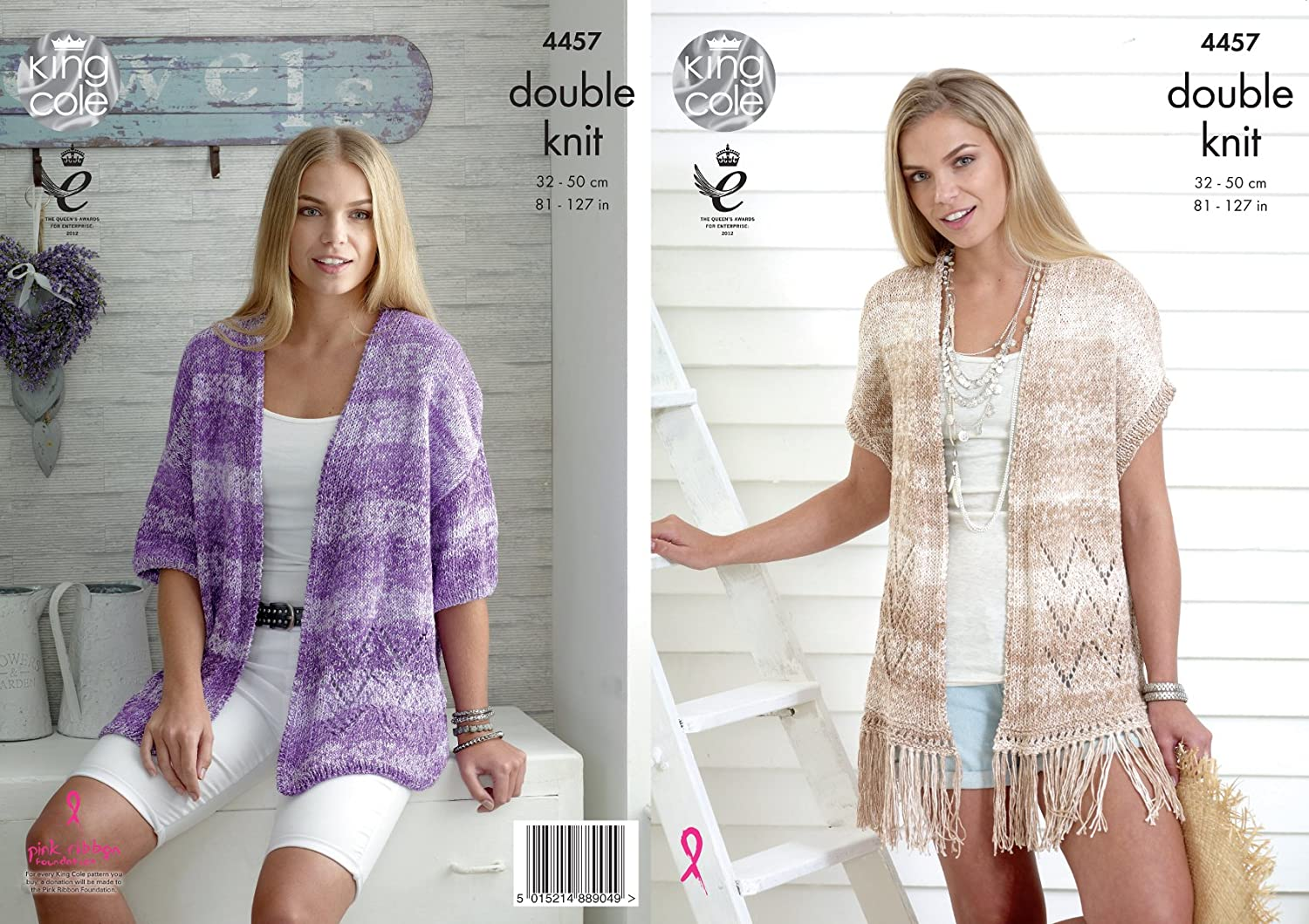 King Cole Ladies Double Knitting Pattern Womens Lace Effect Cardigan & Waistcoat Vogue DK (4457)