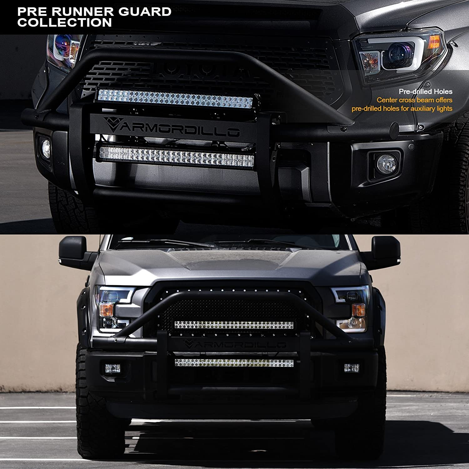 Matte Black For 14-18 Chevy Silverado 1500 Armordillo 733469489351 Modular Pre-Runner Bumper Grille Guard with 32 60x CREE LED Light Bar