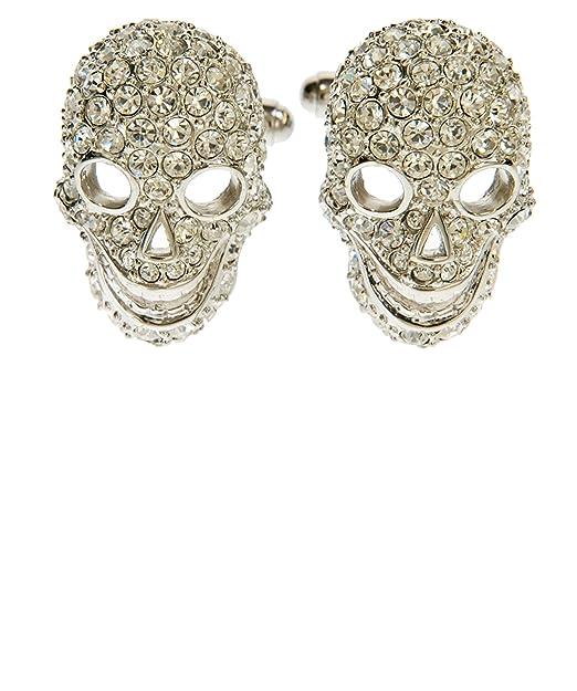 Simon Carter Hombres Swarovski Crystal Tattoo cráneo gemelos Plata única Talla: Amazon.es: Ropa y accesorios