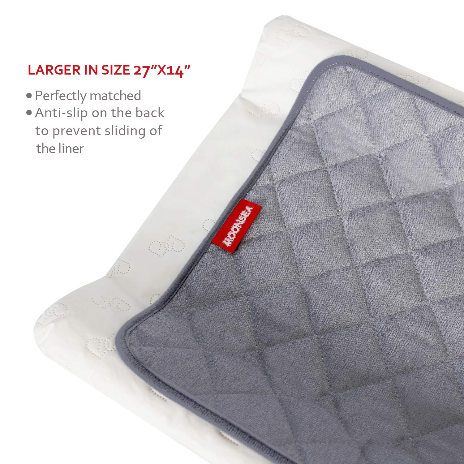 """3 Pack Extra Thick Large Size 14/""""x 27/""""Changing Pad Liners Grey Waterproof Washable Reusable Changing Mats Sheet Protector Waterproof Changing Pad Liners Bamboo Terry Quilted with Non-Slip Back"""