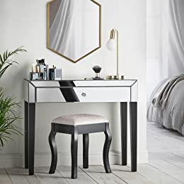 Beautify Mirrored Dressing Table Console With Large Drawers, Crystal Handle  U0026 Black Legs U2013 Luxurious
