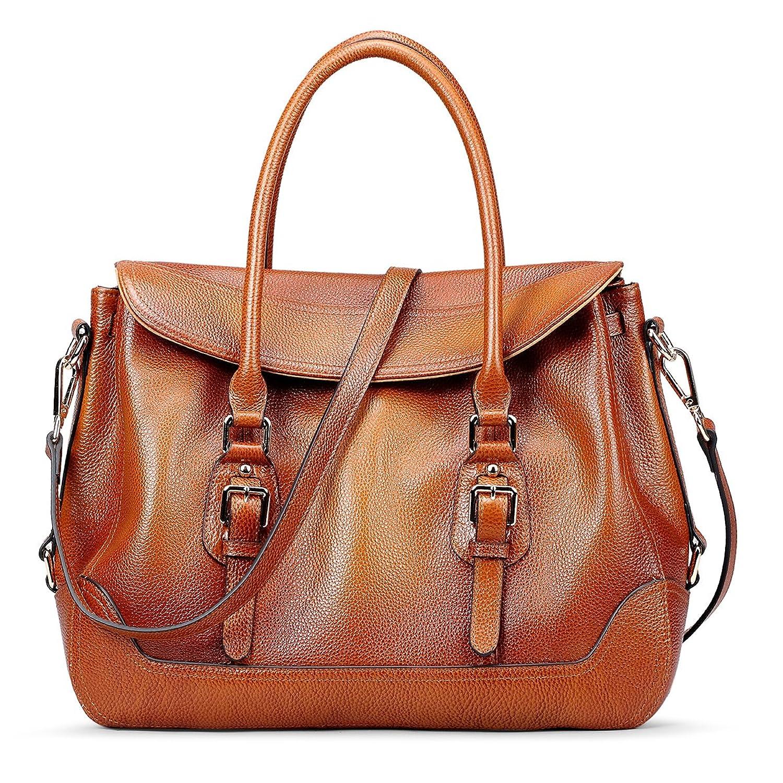 AINIMOER Women's Soft Leather Vintage Tote Top-handle Shoulder Bag Crossbody Handbag Ladies Purse