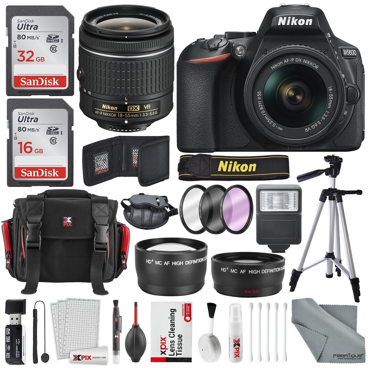 Nikon D5600 DSLR Camera And 18-55mm Lens Kit W/ Total of 48 GB Memory Card  + Telephoto & Wideangle Lens + Xpix Lens Handling Accessories with Basic