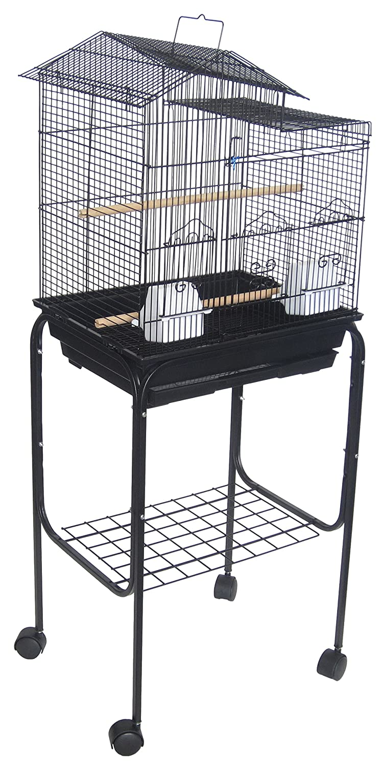 YML 5894 3/8-Inch Bar Spacing Villa Top Bird Cage with Stand, 18-Inch by 14-Inch/Small, Black 5894_4814BLK