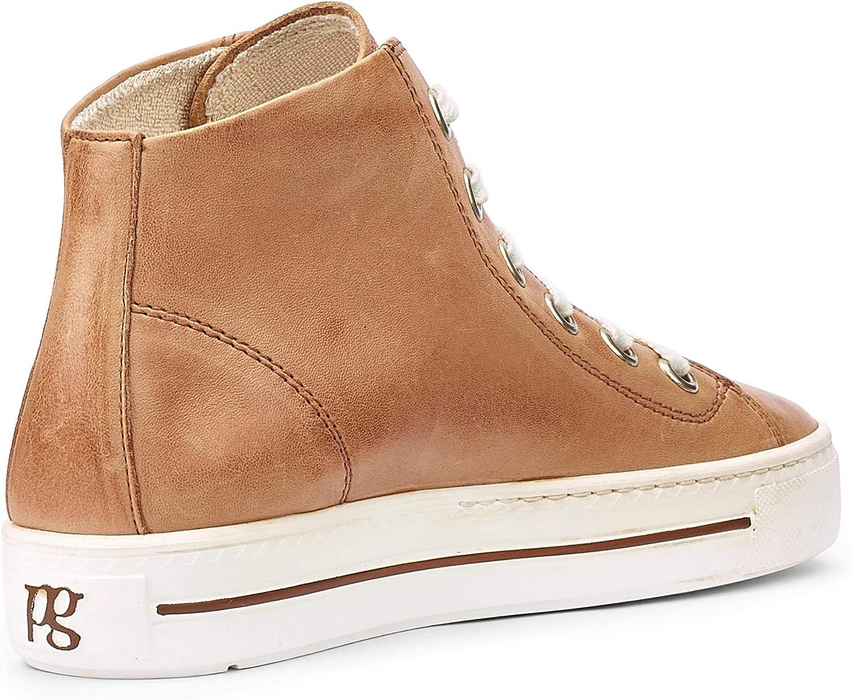 Paul Green Damen Super Soft Hightop-Sneaker, Frauen sportlicher Schnürer Braun Beige Washed Kid Cuoio