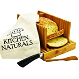 Premium Bamboo Foldable Bread Slicer – Built in Crumb Catcher and Knife Rest |Bread Slicing Guide, Bread Loaf Slicer…