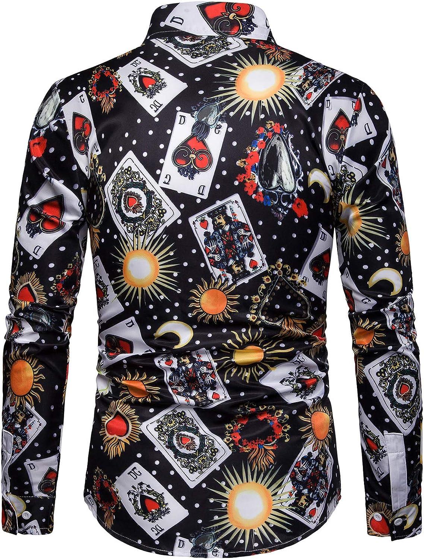 WHATLEES Mens Long Sleeve Luxury Print Dress Shirt