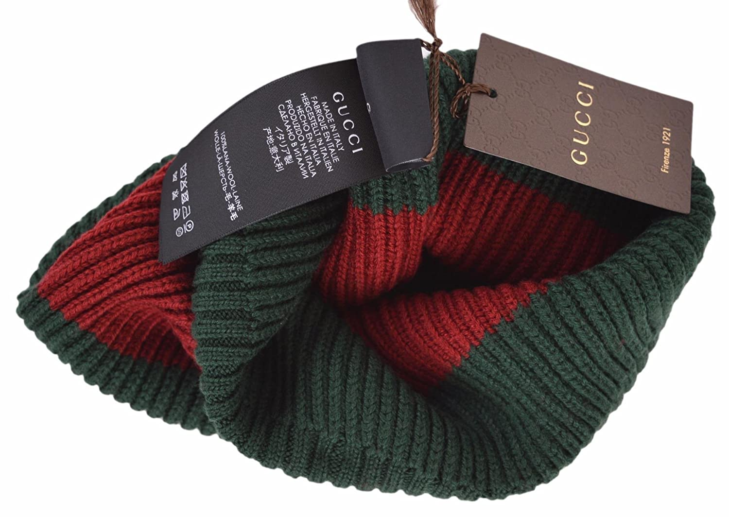 2b2f2614001 Gucci Men s Wool Green Red Interlocking GG Slouchy Beanie Ski Hat   Amazon.co.uk  Clothing